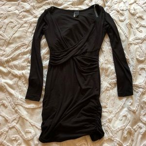 Black bodycon cross front stretchy dress